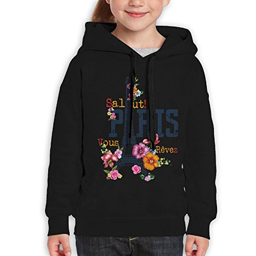 Fashion Girl's Sweatshirts,Soft Flower Paris Cotton Hoodie Pullover For Girl by CHENLY