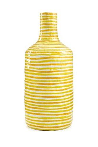 Heart of Haiti Paper Mache Vase Yellow Stripe NEW ()