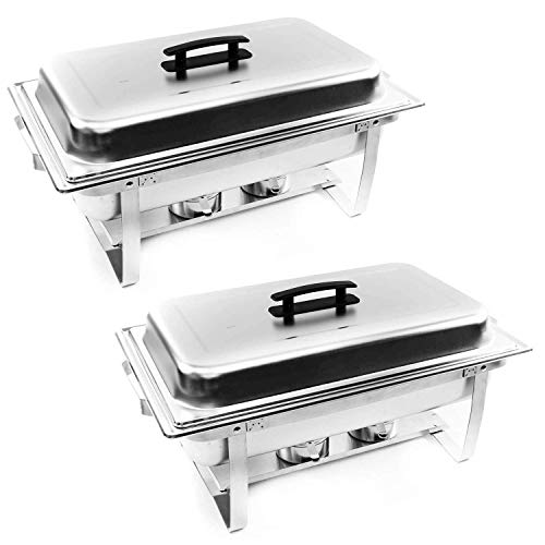 Alpha Living 70012 2 Pack 8QT Chafing Dish High Grade Stainless Steel Chafer Complete Set