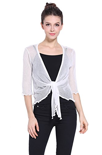 Sofishie Lightweight Sheer Shrug - White - (Sheer Bolero)