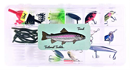 Tailored Tackle Trout Fishing Kit 77 Pc Tackle Box with Tackle Included | Tail Spinners Jerkbait Lure Crankbait Lures Jigs Bait Hooks Spoons Rooster Spinner Baits | Gear for Rainbow Trout Brook Brown