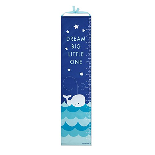 Whale on Ocean Blue Children's Canvas Growth Chart with Stickers ()
