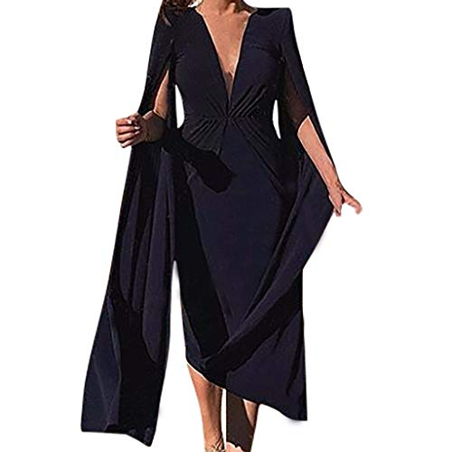 Witspace Fashion Women Sexy Pencil Dress V-Neck Dinner Suit Long Sleeve Knee Length Dress ()