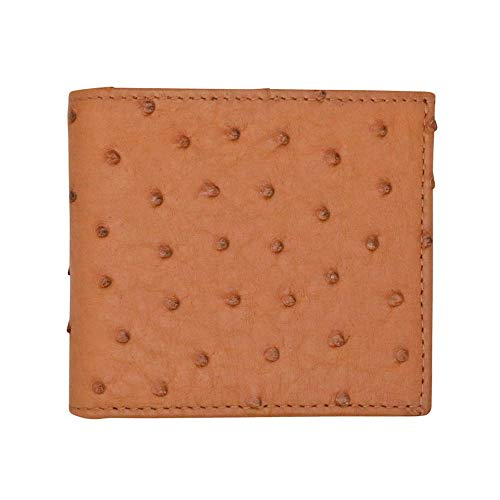 Cognac Genuine Ostrich Bifold Wallet - RFID Blocking Protection - Hipster - American Factory Direct - Holds Dollars Euros Pounds - Made in USA by Real Leather Creations ()