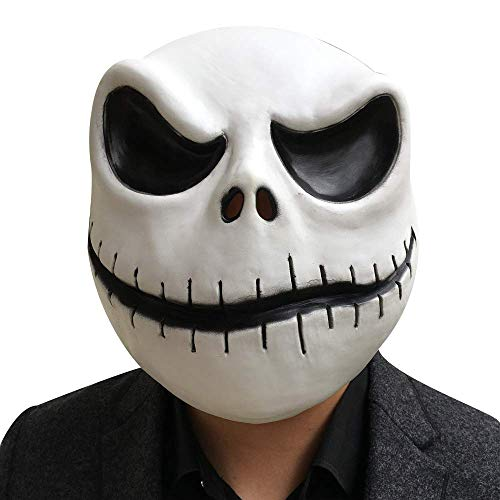 NECHARI Jack Skellington Mask The Nightmare Before Christmas Full Head Latex Flexible White Helmet (Style-2)