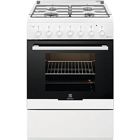 Electrolux RRKK61181OW, Cucina a libera installazione mista, 4 fuochi gas,  Volume utile vano forno 56 L, Bianco