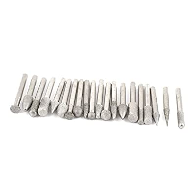 6mm Shank Dia 60mm Length Buffing Bit Diamond Mounted Point Set 20 Pcs