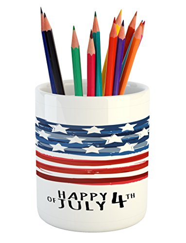 Ambesonne 4th of July Pencil Pen Holder, American Flag in Ar
