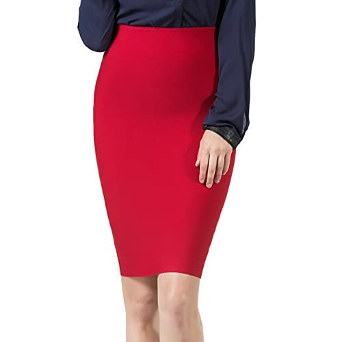 4caed96e25 PERHAPS U Pencil Skirts Women's Stretchy High Waisted Midi Bodycon Office  Skirt well-wreapped