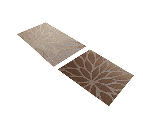 Tennove Placemats set of 6, Woven Vinyl Table Mats PVC Placemats for Kitchen Dining Table Decoration (Flower-Brown) by Tennove (Image #5)