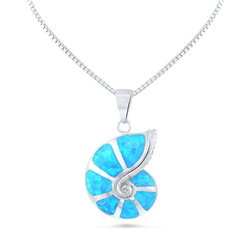 Sterling Silver Created Blue Opal Shell Necklace (18
