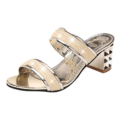 - Sunhusing Women's Casual Thick with Open Toe Sandals Slippers Rhinestones with Diamond Hollow-Out Sandals Gold