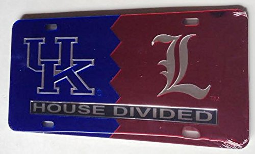 (Kentucky Wildcats - Louisville Cardinals - House Divided Mirrored Car Tag License Plate)