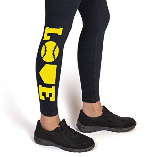 Love Leggings | Softball Leggings by ChalkTalk SPORTS | Adult Small | Yellow -