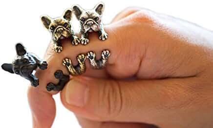 SUNSCSC Antique Silver Vintage Handmade Pug Dog Cat Animal Rings for Women