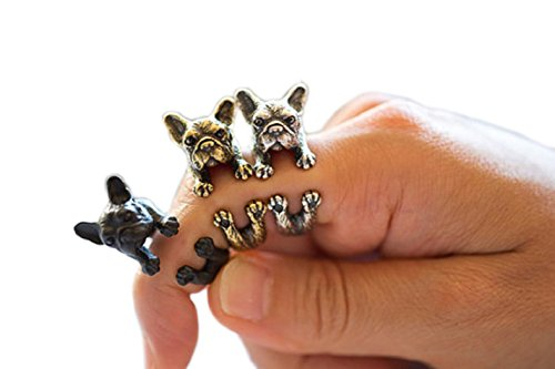 SUNSCSC Antique Silver Vintage Handmade Pug Dog Cat Animal Rings for Women (Dog (Animal Silver Jewelry Set)