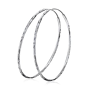 YFN Silver Hoop Earrings Sterling Silver Circle Endless Earrings Hoops Jewelry, Silver Hoop Earring for Women Girls, Daimeter 20,30,40,50,60mm