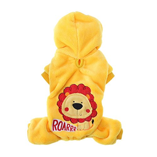 Funny Exquisite Lovely Dog Pet Hooded Clothes Winter Warm Cute Lion Jacket Puppy Fleece Coat (Lion Machine Embroidery)