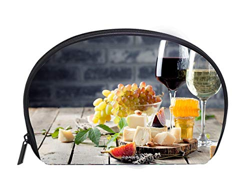 Half-moon Cosmetic Bag Grape cheese figs and honey with a glasses wine Ladies Travel Convenience Small Wash Bag Storage ()