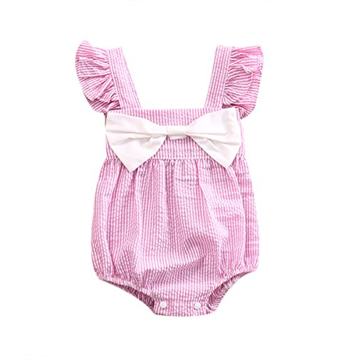 - No non-never Infant Baby Girl Romper Bodysuit Sunsuit Ruffled Sleeveless Bow Stripe Outfits Princess Clothes