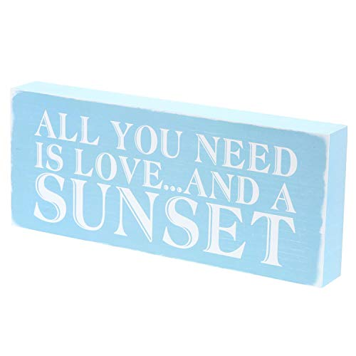 "Barnyard Designs All You Need is Love and A Sunset Box Sign Rustic Vintage Coastal Beach House Home Decor 12"" x 5"""