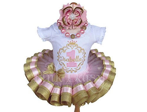 (Girls Personalized Light Pink and Sparkling Gold Royal Princess Birthday Ribbon Trim Tutu Outfit )