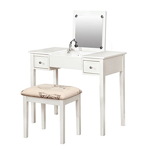 MyEasyShopping Clay Alder Home Clark White Wooden Vanity, Make Up Table and Stool Set Mirror Vanity Makeup Led Lighted Light Alder Set Dresser