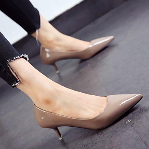 otoño f tacones de damas moda y personalidad comerciante punta fina el zapatos zapatos FLYRCX La patente primavera wn7IqAA4av