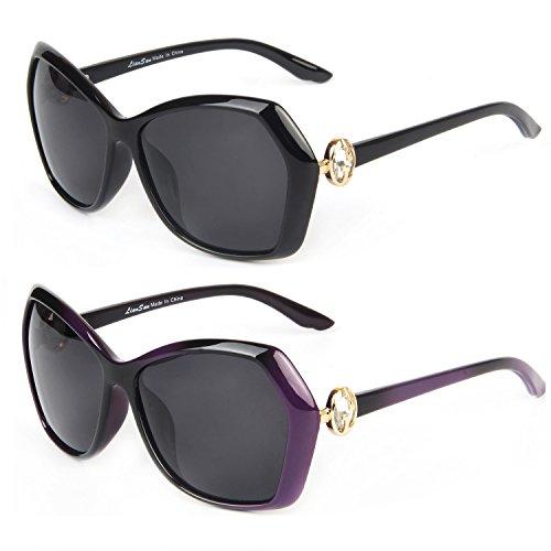 767b12a78c Galleon - LianSan Designer Polarized Oversized Vintage Sunglasses For Women  LSP6220 (bk-pu)