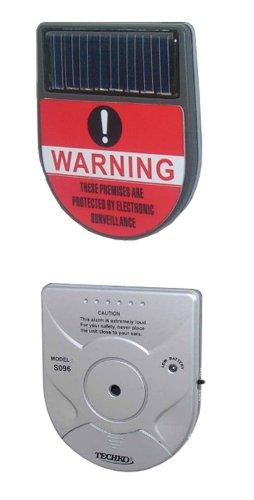 Techko S096 Indoor Vibration Sensor Alarm, Solar Powered, Ultra Slim Design
