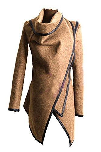 Las Mujeres Elegantes Oblicua Cremallera De Manga Larga Chaqueta De Abrigo Chaqueta De Corte Irregular Camel