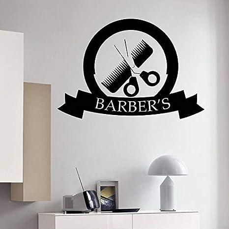 wukongsun Decoración de salón de Belleza Herramientas de peluquería Peine Tijeras Pegatina de Pared decoración de peluquería decoración de peluquería extraíble Logo Vinilo calcomanía 63cmX43cm: Amazon.es: Hogar