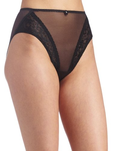 Carnival Women's High Cut Lace Bikini, Black, Large