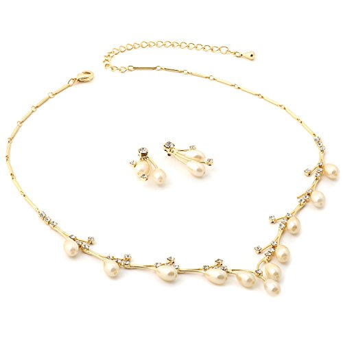 (Topwholesalejewel Gold Crystal Rhinestone and Oval Cream Pearls Necklace with Matching Earrings Jewelry Set )
