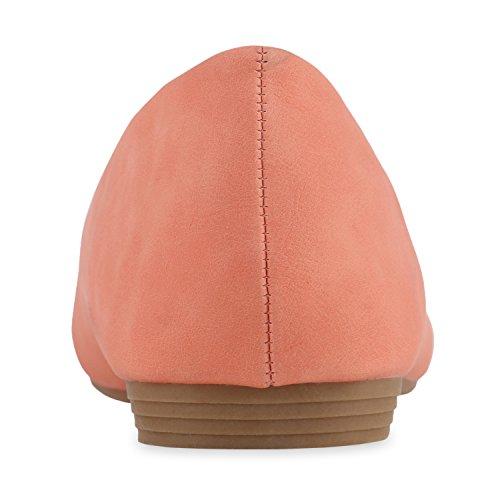 Stiefelparadies Klassische Damen Ballerinas Strass Leder-Optik Schuhe Elegante Slipper Slip On Flats Glitzer Übergrößen Abiball Flandell Coral