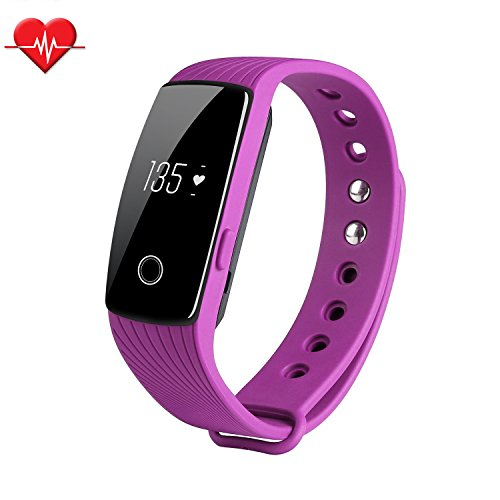 Fitness Tracker & Heart Rate Monitor, TINCINT ID107 Bracelet Pedometer Bluetooth 4.0 Tracking Calorie Health Sleep Monitor Life Waterproof Fitness Band for Android iOS Phones, purple