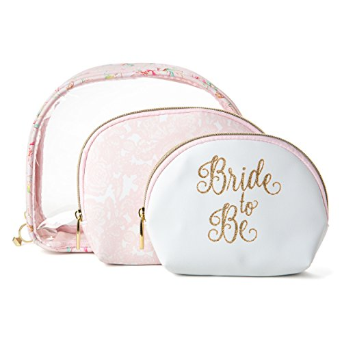 Tri-Coastal Design Bride to Be Cosmetic Makeup Bags: Compact Travel Toiletry Bag Set in Small, Medium and Large for Women and Girls by Tri-coastal Design