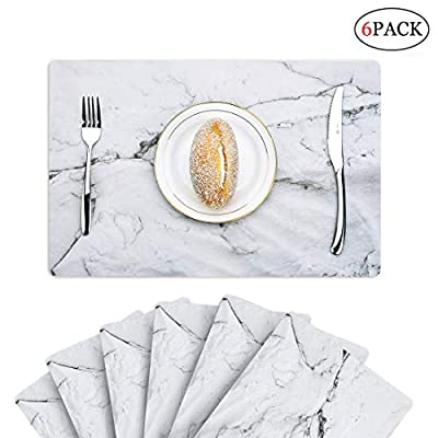 6 PCS Marble Placemats Plactic Waterproof Thin Environmental Materials Easy Clean for Kitchen Dinner Party((Marble) - 1.PP MATERIAL:Most seller chose PVC or Woven Vinyl, but we use different one, which is more environmental friendly and does no harm to our health. They might look really thin, but they are really heat resistant and can protect the table from scratches and stain. 2.WATERPROOF AND AIL RESISTANT:When the placemat is oiled, just wipe it with a damp cloth. It's no mold, matte finish.cleaning is also very convenient, the surface of the matte design makes your placemat wash with water and clean as new.placemat can be rolled up, but can not be folded. 3.INSULATION AND HIGH TEMPERATURE RESISTANCE, the product can withstand temperatures up to 248°F, good heat insulation. - placemats, kitchen-dining-room-table-linens, kitchen-dining-room - 413YkomUDmL. SS400  -
