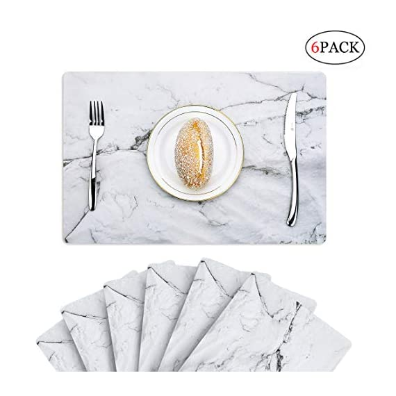 GENNISSY Marble Placemats for Dining Table Set of 6, Thin Environmental Materials Easy Clean for Kitchen Dinner Party((Marble) - 1.PP MATERIAL:Most seller chose PVC or Woven Vinyl, but we use different one, which is more environmental friendly and does no harm to our health. They might look really thin, but they are really heat resistant and can protect the table from scratches and stain. 2.WATERPROOF AND AIL RESISTANT:When the placemat is oiled, just wipe it with a damp cloth. It's no mold, matte finish.cleaning is also very convenient, the surface of the matte design makes your placemat wash with water and clean as new.placemat can be rolled up, but can not be folded. 3.INSULATION AND HIGH TEMPERATURE RESISTANCE, the product can withstand temperatures up to 248°F, good heat insulation. - placemats, kitchen-dining-room-table-linens, kitchen-dining-room - 413YkomUDmL. SS570  -