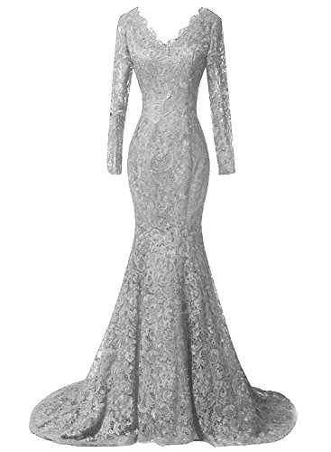 Prom Women Lace s Party Long silver Formal Beaded B Sleeves Gowns Mermaid DKBridal Dresses Evening pxd8a1wx
