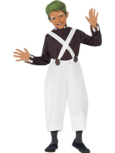 Easy Roald Costumes Dahl Day (Smiffy's Big Boys' Ren Oompa Loompa Roald Dahl Costume Free Orange Face Body 10-12 Years Brown And)