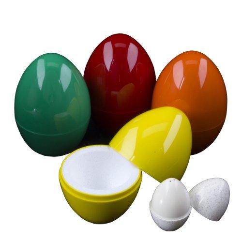 THERMO-EI zum Warmhalten von Frühstückseiern / 4-er Set / sortierte Farben / incl. einem kleinen Salzstreuer ebenfalls in Eiform