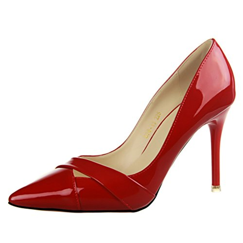 Hollow Pumps Simple Color HooH Red Dress Women's Candy Out qIwn70H