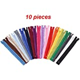 Zenith Polyester Auto-Lock 8-inches Zip for Pants, Palazzos Multicolour - Set of 10 8 inch Tailoring Zips Perfect Fasteners for Dressmaking Repairs & Embellishing Tailoring Zips Perfect Fasteners