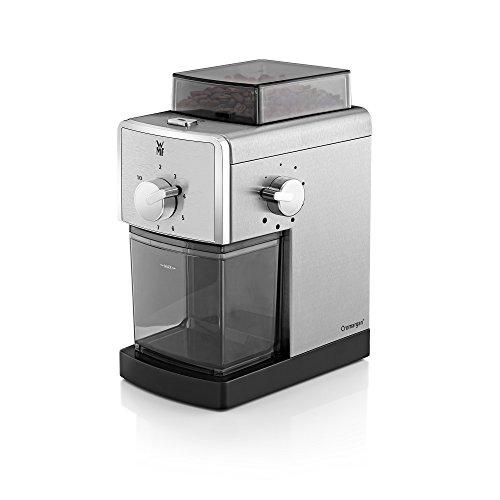 WMF Stelio Edition Kaffeemühle, Scheibenmahlwerk aus Stahl, Kaffee und Espresso, cromargan matt / silber