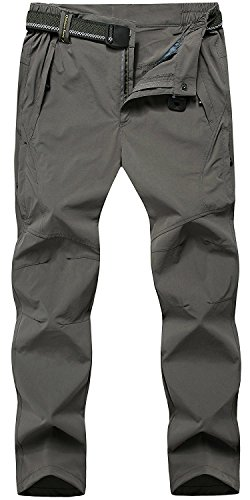 TBMPOY Men's Quick Dry Ripstop Belted Mountain Fishing Cargo Pants(03thin Darkgrey