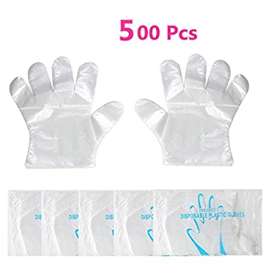 Disposable Food Prep Gloves - 500 Piece Plastic Food Safe Disposable Gloves, Food Handling, Transparent, One Size Fits Most