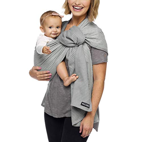 Moby Ring Sling Baby Carrier (Silver Streak) - Ring Sling Carrier For Babywearing -Baby Sling For Baby Wearing, Breastfeeding, And Keeping Baby Close - Baby Carrier For Newborns, Infants, and Toddlers ()