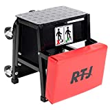RTJ 400 lbs Capacity Mechanic Roller Seat Stool Combo, Red