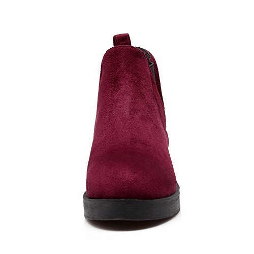 AgooLar Women's Solid Low-Heels Round Closed Toe Imitated Suede Pull-on Boots Claret 1uue1jz